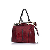 Dark red snake structured tote bag