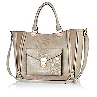 Cream mock croc winged tote bag