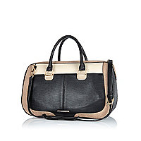 Black colour block curved panel bowler bag