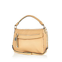 Light beige fold over slouch bag