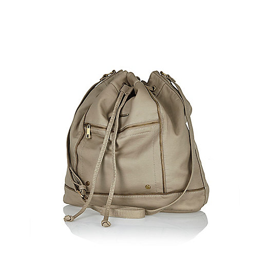 Beige washed duffle bag