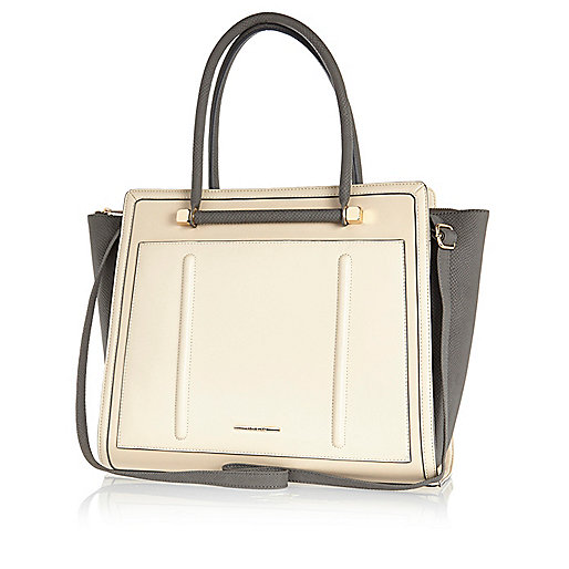 Cream colour block winged tote bag