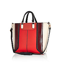 Red quilted panel tote bag