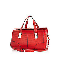 Red mock croc bowler bag