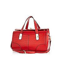 Red mock croc bowler bag