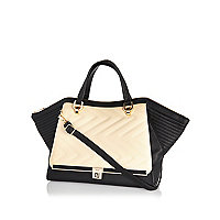 Cream quilted winged tote bag