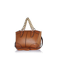 Tan chain handle mini bowler bag