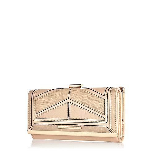 Beige chevron panel purse