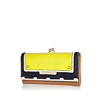 Yellow colour block clip top purse