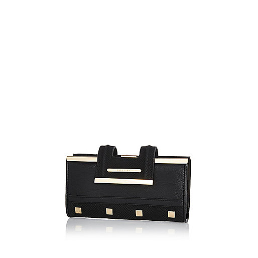 Black studded clip top purse