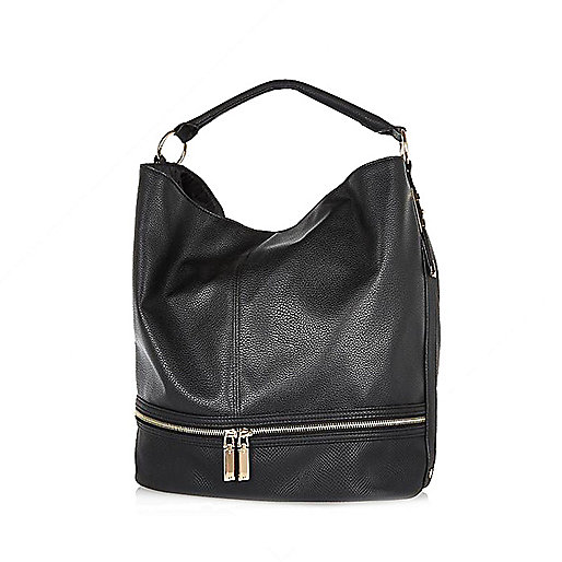 Black zip bottom slouch bag