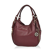 Dark red zip side slouch bag