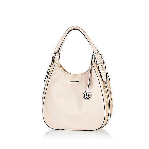 Light pink zip side slouch bag