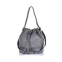 Grey croc quilted duffle bag