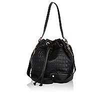 Black croc quilted duffle bag