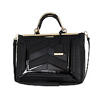 Black chevron panel structured tote bag
