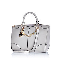 Grey chain trim bowler bag