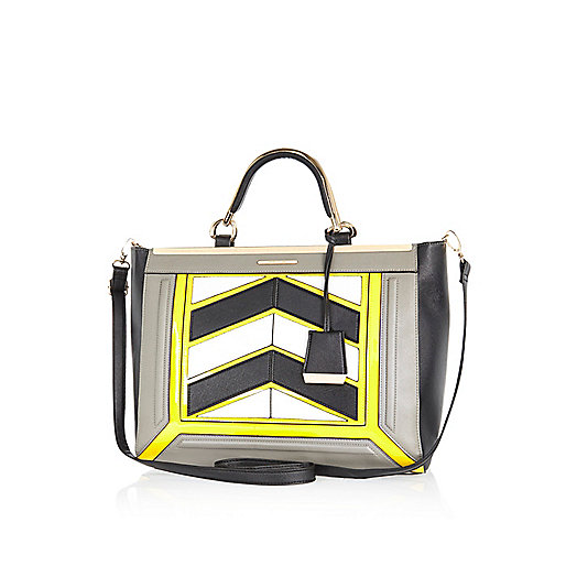 Grey chevron colour block structured tote bag