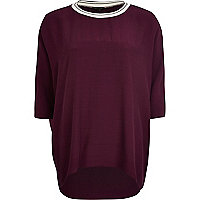 Dark red stripe trim oversized top
