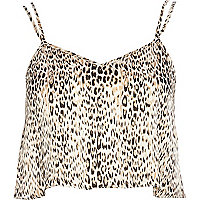 Brown animal print cami crop top