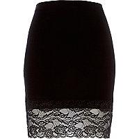 Black lace hem pencil skirt