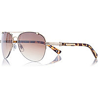 Gold tone rimless aviator sunglasses