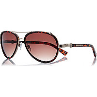 Brown tortoise shell aviator sunglasses