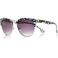 Black lace printed retro sunglasses