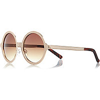Gold tone textured round sunglasses