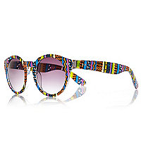 Blue aztec print round sunglasses