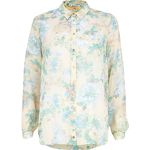 lemon floral blouse