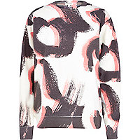 Cream brushstroke print oversized sweatshirt