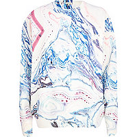 Cream marble print oversized sweatshirt