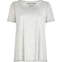 Grey marl lurex trim low scoop t-shirt