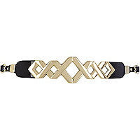 Black metal criss cross skinny waist belt