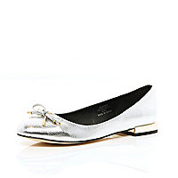 Silver metallic square heel ballet pumps