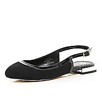 Black patent trim sling back ballerina pumps