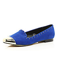 Blue studded toe cap slipper shoes