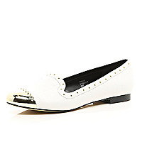 White studded toe cap slipper shoes