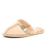 Light pink faux fur lined mule slippers