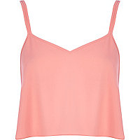 Coral cami crop top