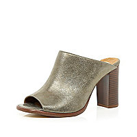 Gold metallic block heel mules