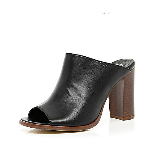 Black block heel mules