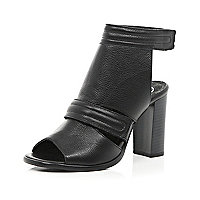Black leather cut out block heel shoe boots