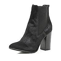 Black pony skin block heel Chelsea boots