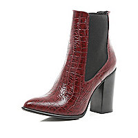 Dark red mock croc Chelsea boots