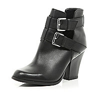 Black cut out buckle western ankle boots