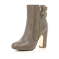 Taupe metal trim block heel ankle boots