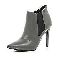 Grey point stiletto ankle boots