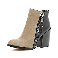 Black and taupe block heel ankle boots